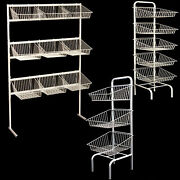New 3-5-9 Tier Free Standing White Basket Unit Stands For Retail Shop Display