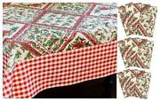 April Cornell Holiday Christmas Holly Berry Bird Tablecloth 60 X 120 12 Napkins