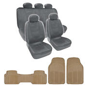 Best Price Gray Pu Leather Seat Covers And Beige 3 Piece Pvc Mats Set By Bdk
