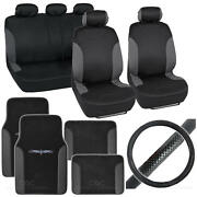 14pc Car Seat Cover Floor Mat And Steering Wheel Cover - Bucatti Black / Charcoal
