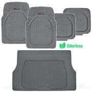 5pc All Weather Floor Mats And Cargo Set - Gray Tough Rubber Motortrend Deep Dish