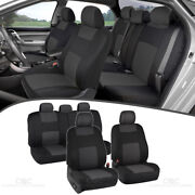 Full Set Car Seat Covers Premium Double Stitching W/ Split Bench - Charcoal Gray