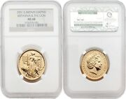 Great Britain Britannia 2001 Una And The Lion 50 Pounds 1/2 Oz Gold Ngc Ms68