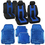 Black Blue Two Tone Seat Covers And Heavy Duty Blue Vinyl Floor Mats Full Set 13pc