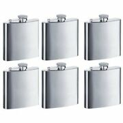 New 8oz Hip Stainless Flask Set Of 6 Free Shipping