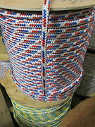 1/2 X 120and039 Halyard Sail Lineanchor Line Double Braid Polyester 8500 Lb Usa