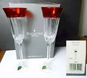 Waterford Crystal Simply Red Champagne Flutes2 New In Box