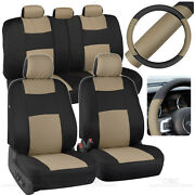 Black/tan Car Seat Covers For Auto W/ 2 Tone Pu Leather Steering Wheel Cover