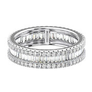 1.75 Carat Round And Baguette Cut Diamonds Full Eternity Wedding Ring In 18k Gold