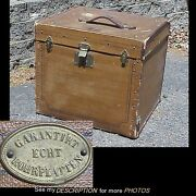 Antique Echt Travel Trunk Hats, Shoes, Cosmetics Top And Front Opens