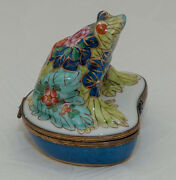 Floral Water Lily Frog Limoges Box Hand Painted Colors Trinket Boxes