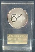 Vintage 1964 Paperweight Award Mony Plus Agency