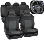 Black And Gray Synthetic Leather Seat Covers For Car Suv Auto Steering Wheel Cover