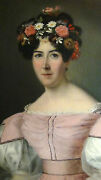 19c Old Master British School Oil Painting On Canvas Of Noble Woman W/flowers