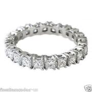 2.00ct Princess Cut Diamonds Full Eternity Wedding Ring18k White And Yellow Gold