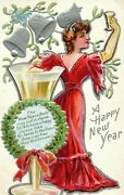 Circa 1910 Winsch Back Lovely Lady Toasting New Years Silver Bells Embossed P1