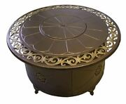 Az Patio Heaters Round Fire Pit Table In Bronze With Lid - Cast Aluminum 38