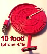 10 Foot Long Iphone 4 4s Ipod Charging Cable/ Cord New Pick Your Color