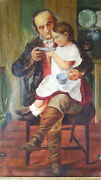 Antique 18c-19c British School Old Master Oil Painting Of Grandfather W/girl