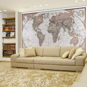 Antique Political World Map Projection Of The Earth- Wall Mural - 66x96