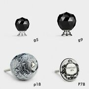 Black Crystal And Ceramic Door Knobs Handles For Dressers Cabinets