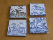 Vintage Hand Painted Polychrome And3 Blue White Pictorial Spanish Portuguise Tiles