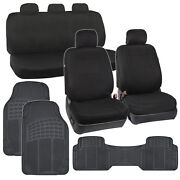 Black Full Set Car Seat Covers Premium Double Stitching And 3pc Rubber Auto Mats