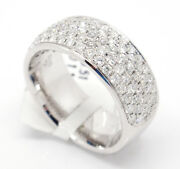 14k White Gold Vs1-si11.12tcw Pave Diamond Engagement 8mm Wide Band Ring 6.5