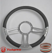 14and039and039 Billet Steering Wheels Dark Gray Half Wrap Ford Lincoln Mercury Cougar Gmc
