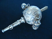 Antique England Uk Europe Baby Rattle Whisle Toy Solid Silver Gold Plate