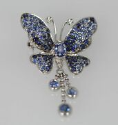 Vintage Circa 1960 Sapphire Approx. 2 Ct Butterfly Brooch/pendant 18k White Gold