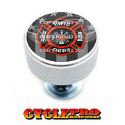 Chrome Knurled Billet Seat Bolt 96-up Harley Touring Ghost Usa Fire Dept - 151