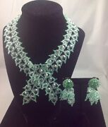 Coppola E Toppo Rare Leaf Motif Set Of Necklace And Earrings1950and039s