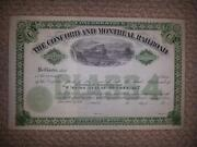 Concord And Montreal Railroad Stock Certificate 1900s