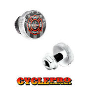 2 Silver Billet Knurled License Plate Frame Tag Bolts Ghost Usa Fire Dept - 151