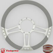 14and039and039 Billet Steering Wheels Light Gray Half Wrap Gmc Replacement Lesabre Electra