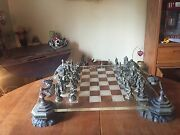 Puwter And Crystal Chess Pieces And Board Fantasy Of The Crystal By Boris