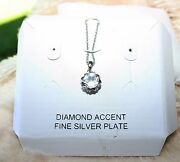 Diamond Accent Fine Silver Plated Heart Rimmed Necklace Nwt 100