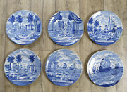 Antique Excellent Set Of 6 Dutch Delft Plates Herring-fishing 19th C. Marked