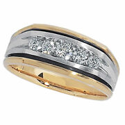 Menand039s 1/2 Ct. T.w. Diamond Wedding Band In 14k Two-tone Gold