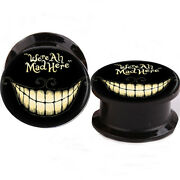 Pair Alice Weand039re All Mad Here Ear Gauges Ear Plugs Flesh Tunnel Acrylic Screw