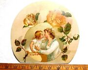 1870s-80s Lovely Big Die Cut Mother And Daughter, Calendar Top Victorian Card W