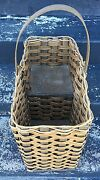Vintage Woven Wicker Stair Step Basket Accented With Jute Rope Two Handles