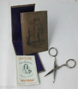 Inked Cover Etui Sewing Set- Scissor Needle Book And Packet Antique C1900and039s
