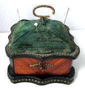 Heavy Solid Wooden Desk Top Pin Cushion W/ Drawer And Stud Trim Antique C1800