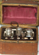 Antiquec1880and039s Etui 10pc Sewing Tooled Leather Cheststerling Thimble And More