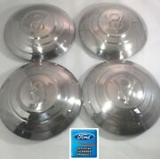 Set Of 4 Stainless Hubcaps V8 W/ 3 Raised Rings For 1932 Ford Car