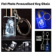 Personalized Picture Engraved Crystal Key Chain Rectangle Shape Unique Gift