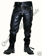 100 Genuine Premium Leather Mens Jeans With Spandex Pants Trousers Biker