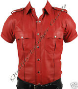 Genuine Leather Red/ Red And Black Mens Police Military Uniform Shirt Bluf Patch